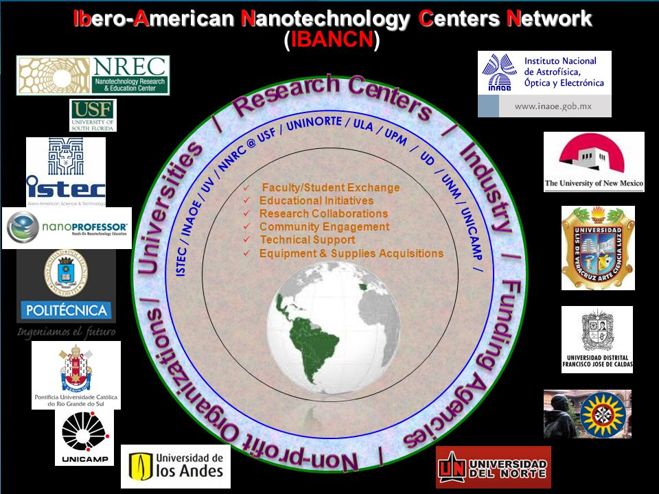 Ibero-American Nanotechnology Centers Network Ibero-American Nanotechnology Centers Network (IBANCN) Faculty/Student Exchange Educational Initiatives