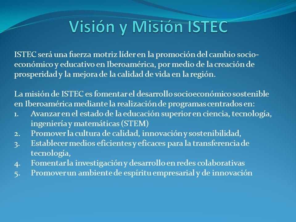 ISTEC será una fuerza motriz líder en la promoción del cambio socio- económico y educativo en Iberoamérica, por medio de la creación de prosperidad y la mejora de la calidad de vida en la región.