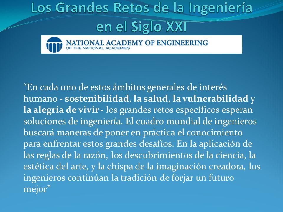 En cada uno de estos ámbitos generales de interés humano - sostenibilidad, la salud, la vulnerabilidad y la alegría de vivir - los grandes retos específicos esperan soluciones de ingeniería.