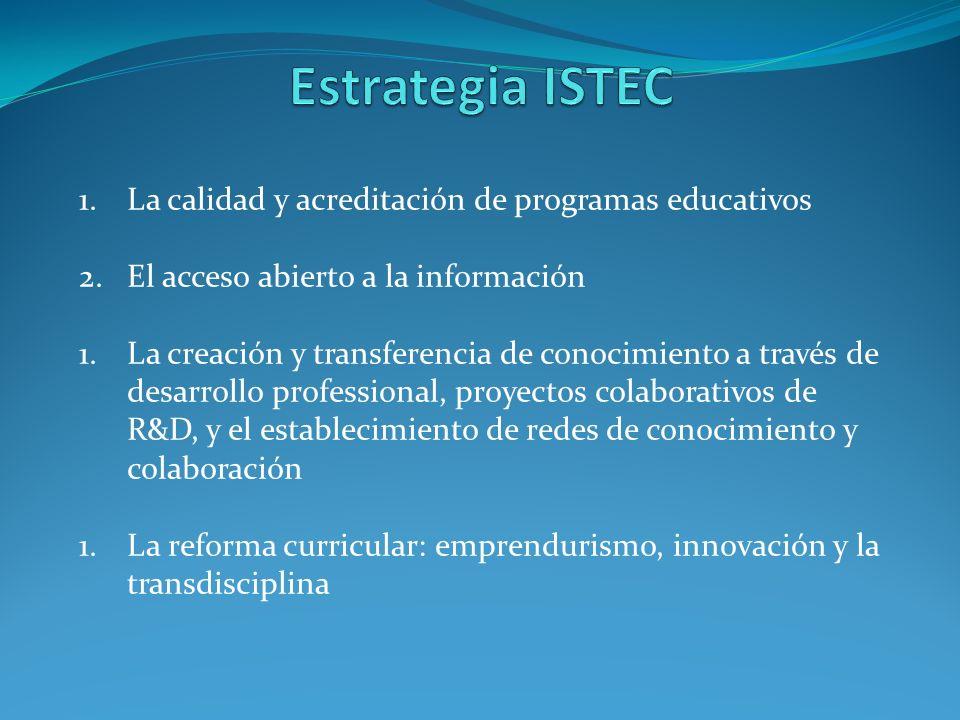 1.La calidad y acreditación de programas educativos 2.El acceso abierto a la información 1.La creación y transferencia de conocimiento a través de desarrollo professional, proyectos colaborativos de R&D, y el establecimiento de redes de conocimiento y colaboración 1.La reforma curricular: emprendurismo, innovación y la transdisciplina