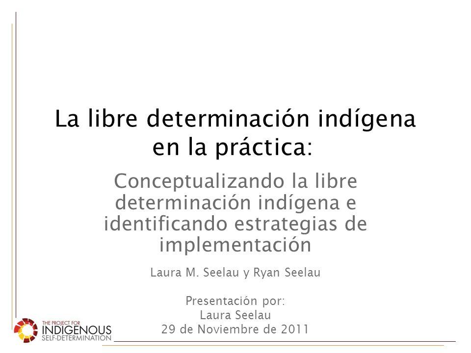 Objetivos 1.Introducir un nuevo marco conceptual para entender el derecho indígena a la libre determinación 2.Mostrar cómo se puede utilizar este marco conceptual para… – Medir su implementación – Desarrollar estrategias para su implementación