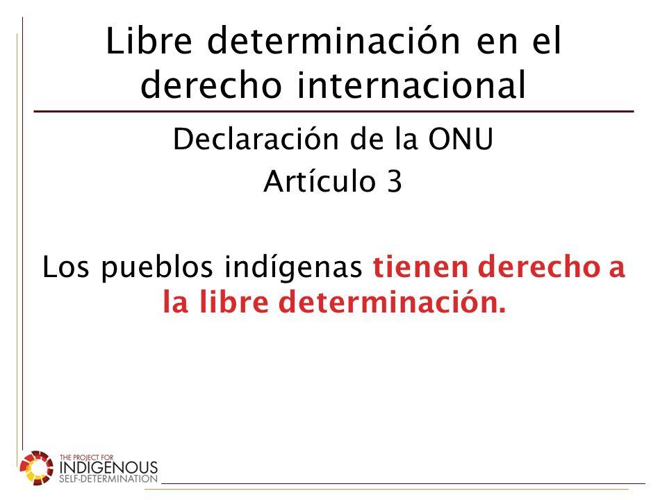 Libre determinación en el derecho internacional Convenio 169 de la OIT Artículo 7 (1) Los pueblos interesados deberán tener el derecho de decidir sus propias prioridades en lo que atañe al proceso de desarrollo… y de controlar, en la medida de lo posible, su propio desarrollo económico, social y cultural.
