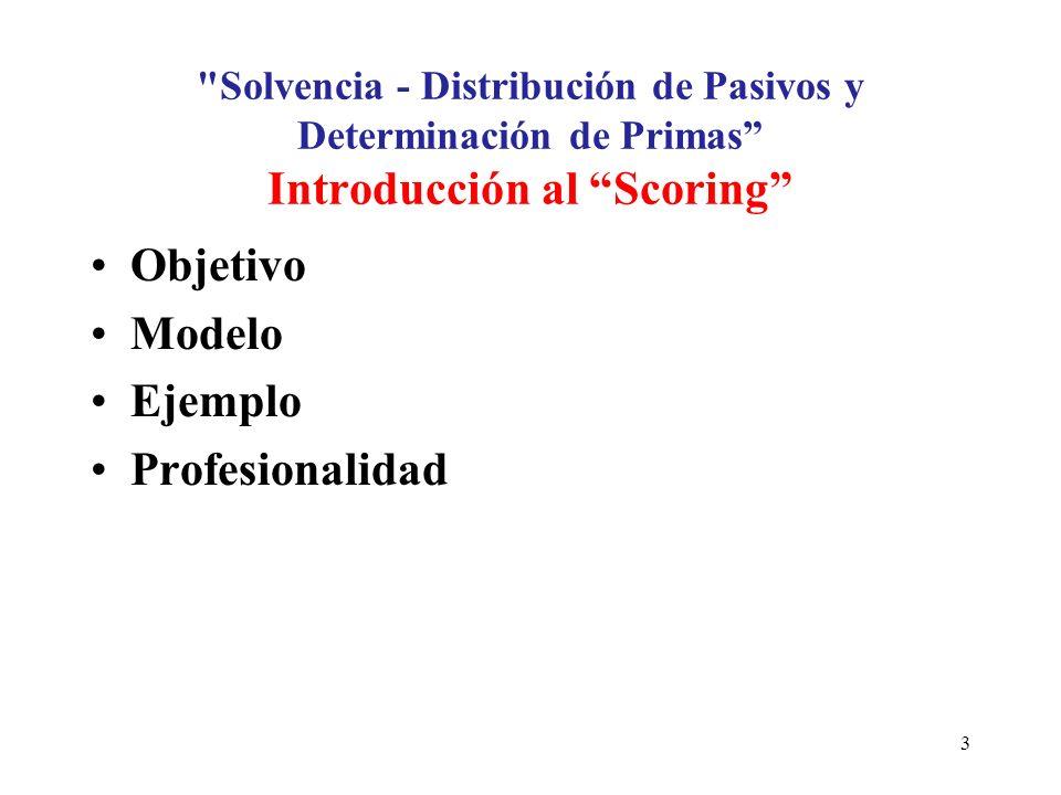 Solvencia - Distribución de Pasivos y Determinación de Primas Introducción al Scoring Objetivo Modelo Ejemplo Profesionalidad 3