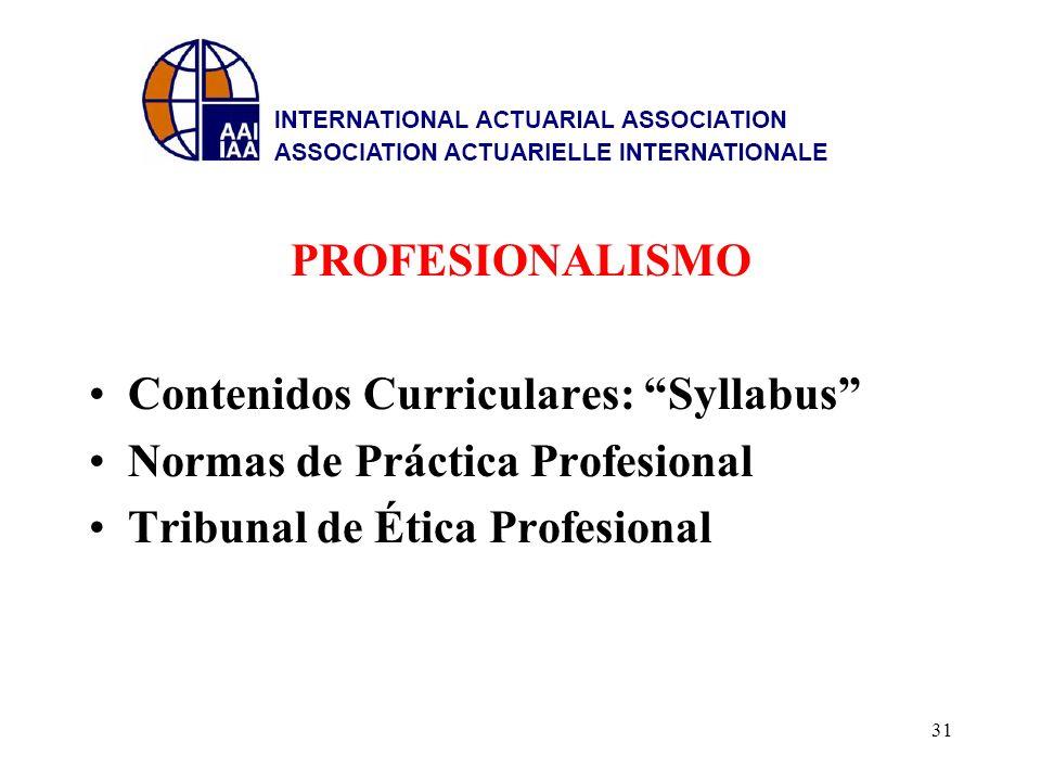 PROFESIONALISMO Contenidos Curriculares: Syllabus Normas de Práctica Profesional Tribunal de Ética Profesional 31