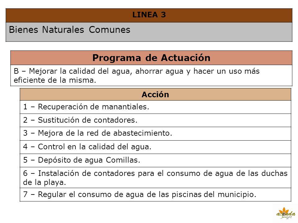 LINEA 3 Bienes Naturales Comunes Programa de Actuación B – Mejorar la calidad del agua, ahorrar agua y hacer un uso más eficiente de la misma. Acción