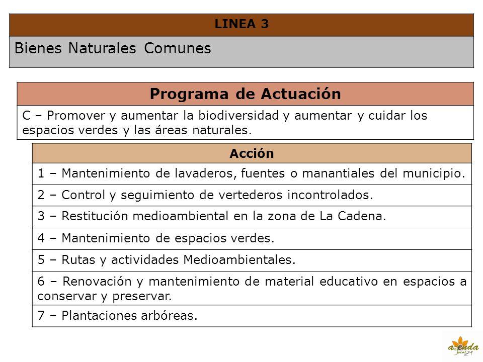 LINEA 3 Bienes Naturales Comunes Programa de Actuación C – Promover y aumentar la biodiversidad y aumentar y cuidar los espacios verdes y las áreas na