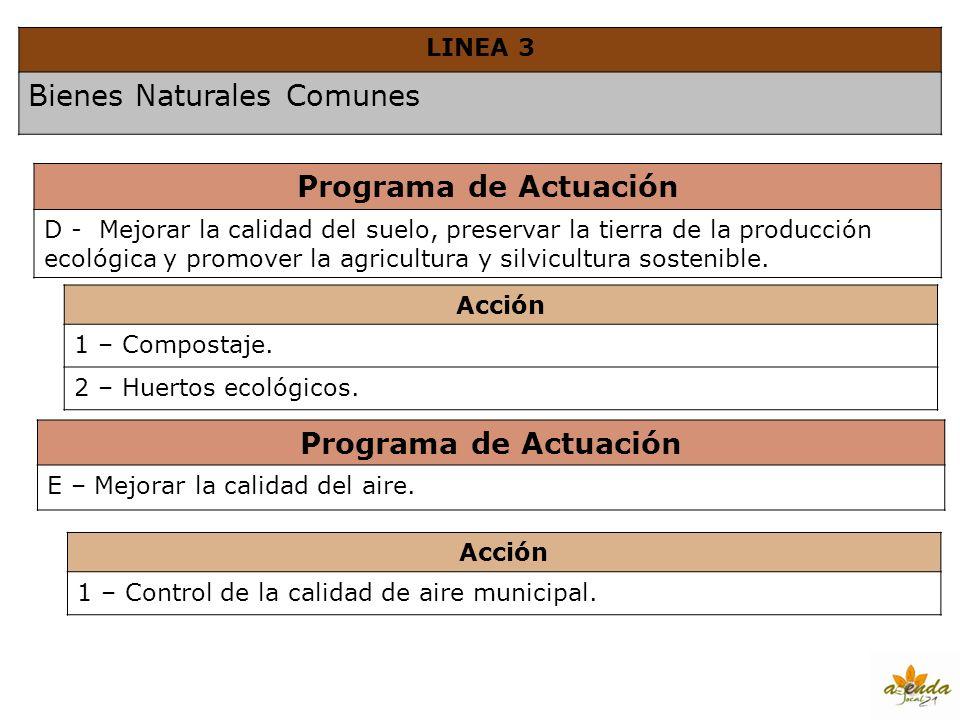 LINEA 3 Bienes Naturales Comunes Programa de Actuación D - Mejorar la calidad del suelo, preservar la tierra de la producción ecológica y promover la