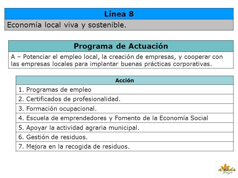 Línea 8 Economía local viva y sostenible. Programa de Actuación A – Potenciar el empleo local, la creación de empresas, y cooperar con las empresas lo