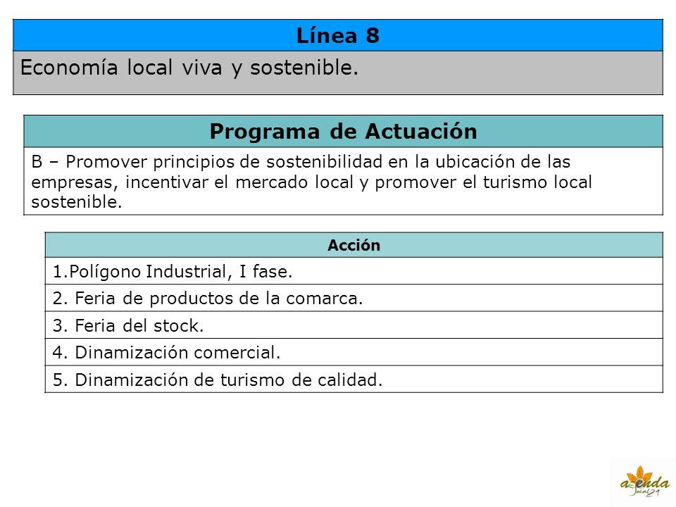 Línea 8 Economía local viva y sostenible. Programa de Actuación B – Promover principios de sostenibilidad en la ubicación de las empresas, incentivar