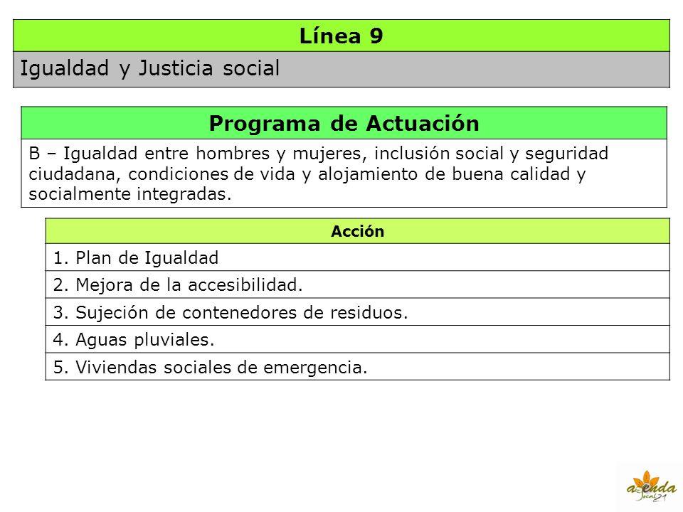 Línea 9 Igualdad y Justicia social Programa de Actuación B – Igualdad entre hombres y mujeres, inclusión social y seguridad ciudadana, condiciones de
