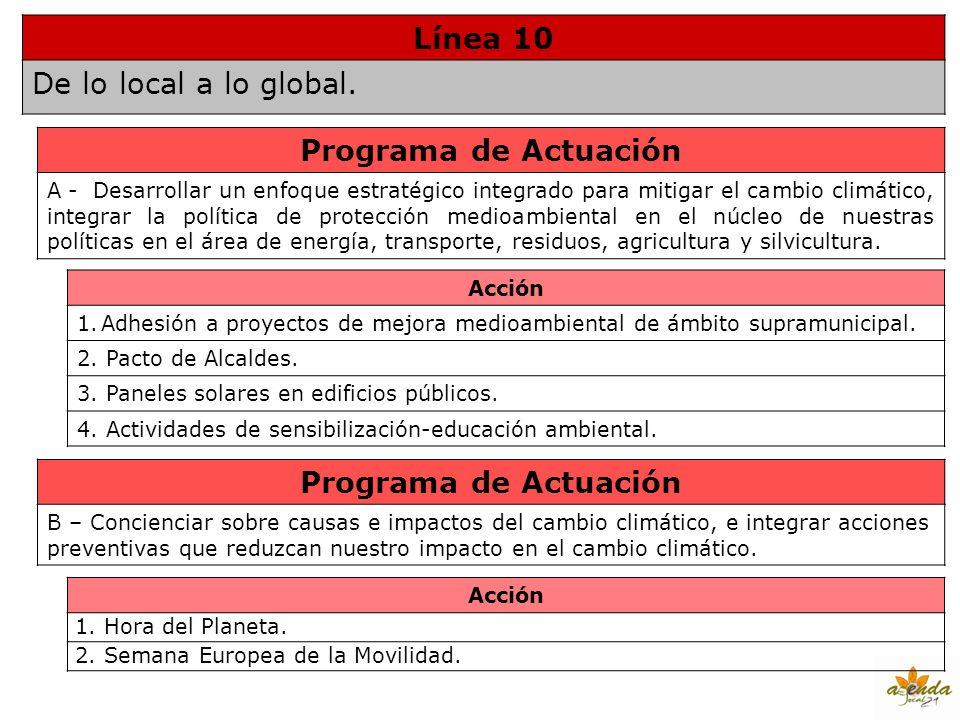 Línea 10 De lo local a lo global. Programa de Actuación A - Desarrollar un enfoque estratégico integrado para mitigar el cambio climático, integrar la