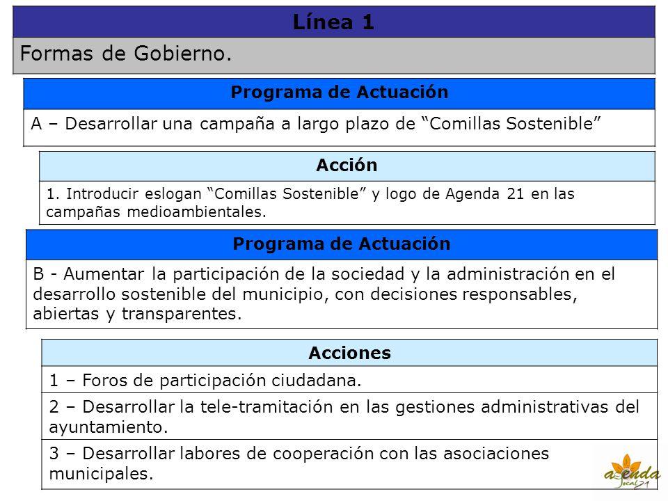 Línea 1 Formas de Gobierno. Programa de Actuación A – Desarrollar una campaña a largo plazo de Comillas Sostenible Acción 1. Introducir eslogan Comill