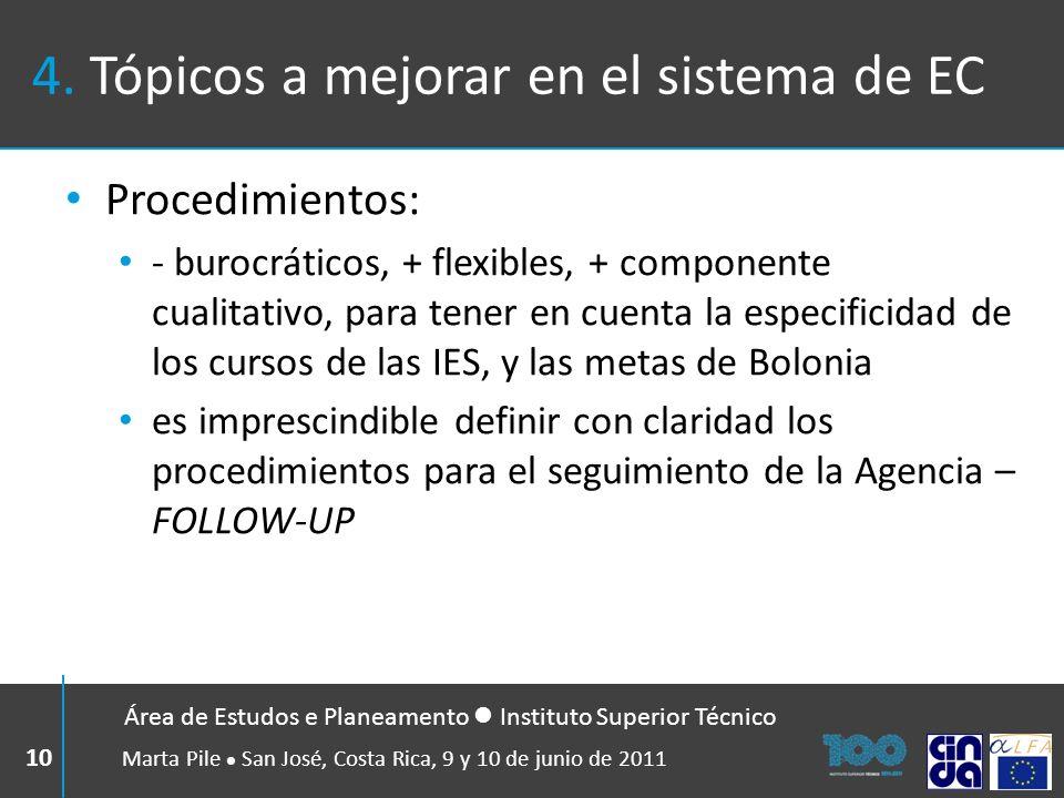 4. Tópicos a mejorar en el sistema de EC Procedimientos: - burocráticos, + flexibles, + componente cualitativo, para tener en cuenta la especificidad