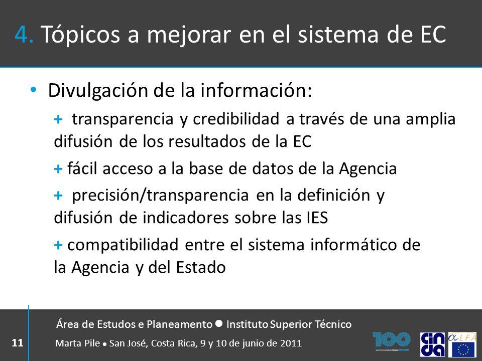 4. Tópicos a mejorar en el sistema de EC Divulgación de la información: + transparencia y credibilidad a través de una amplia difusión de los resultad