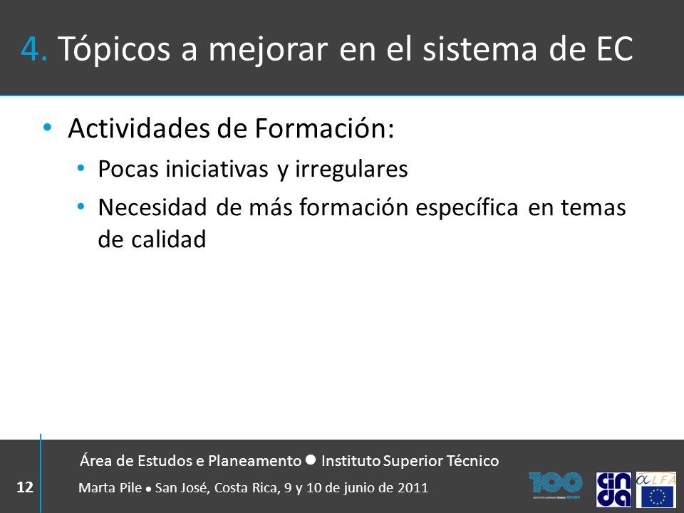 4. Tópicos a mejorar en el sistema de EC Actividades de Formación: Pocas iniciativas y irregulares Necesidad de más formación específica en temas de c