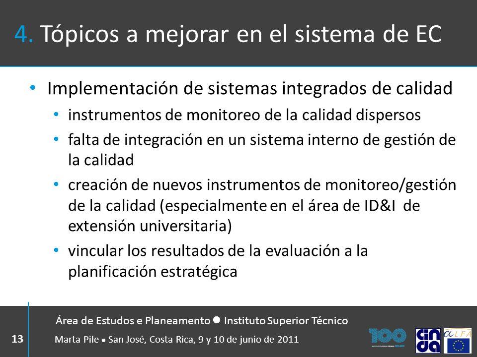 4. Tópicos a mejorar en el sistema de EC Implementación de sistemas integrados de calidad instrumentos de monitoreo de la calidad dispersos falta de i