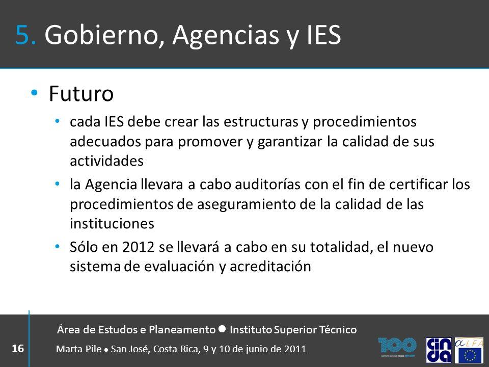 5. Gobierno, Agencias y IES Futuro cada IES debe crear las estructuras y procedimientos adecuados para promover y garantizar la calidad de sus activid