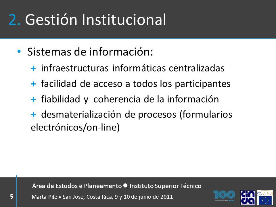 2. Gestión Institucional Sistemas de información: + infraestructuras informáticas centralizadas + facilidad de acceso a todos los participantes + fiab