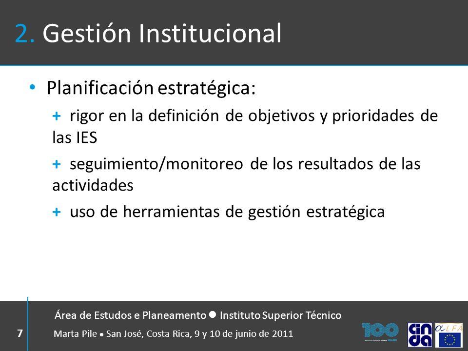 2. Gestión Institucional Planificación estratégica: + rigor en la definición de objetivos y prioridades de las IES + seguimiento/monitoreo de los resu