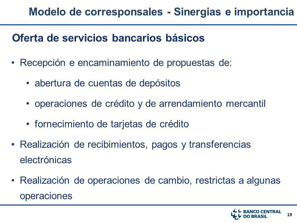 19 Recepción e encaminamiento de propuestas de: abertura de cuentas de depósitos operaciones de crédito y de arrendamiento mercantil fornecimiento de