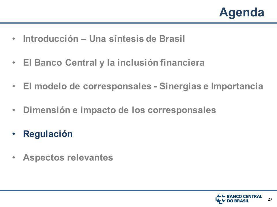27 Introducción – Una síntesis de Brasil El Banco Central y la inclusión financiera El modelo de corresponsales - Sinergias e Importancia Dimensión e