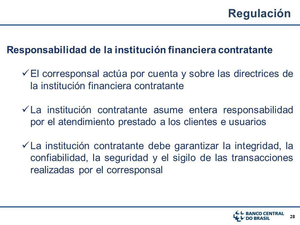 28 Responsabilidad de la institución financiera contratante El corresponsal actúa por cuenta y sobre las directrices de la institución financiera cont