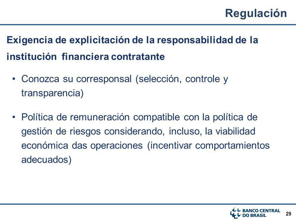 29 Exigencia de explicitación de la responsabilidad de la institución financiera contratante Conozca su corresponsal (selección, controle y transparen