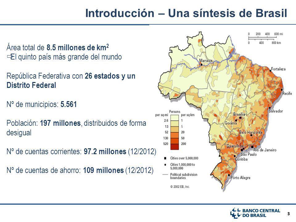3 Introducción – Una síntesis de Brasil Área total de 8.5 millones de km 2 El quinto país más grande del mundo República Federativa con 26 estados y u