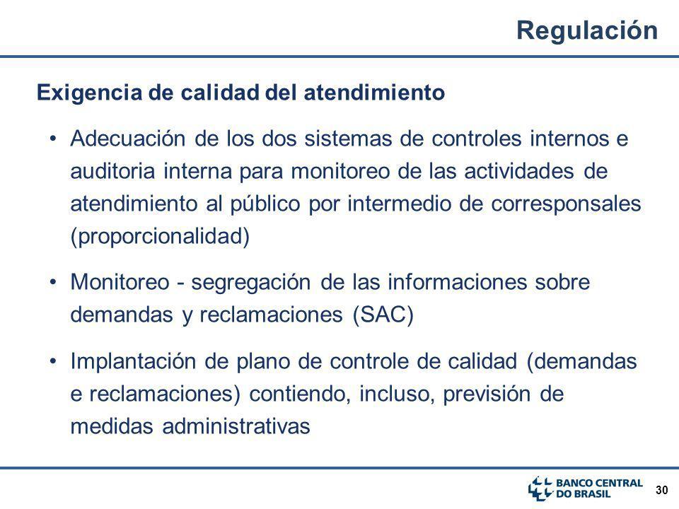30 Exigencia de calidad del atendimiento Adecuación de los dos sistemas de controles internos e auditoria interna para monitoreo de las actividades de