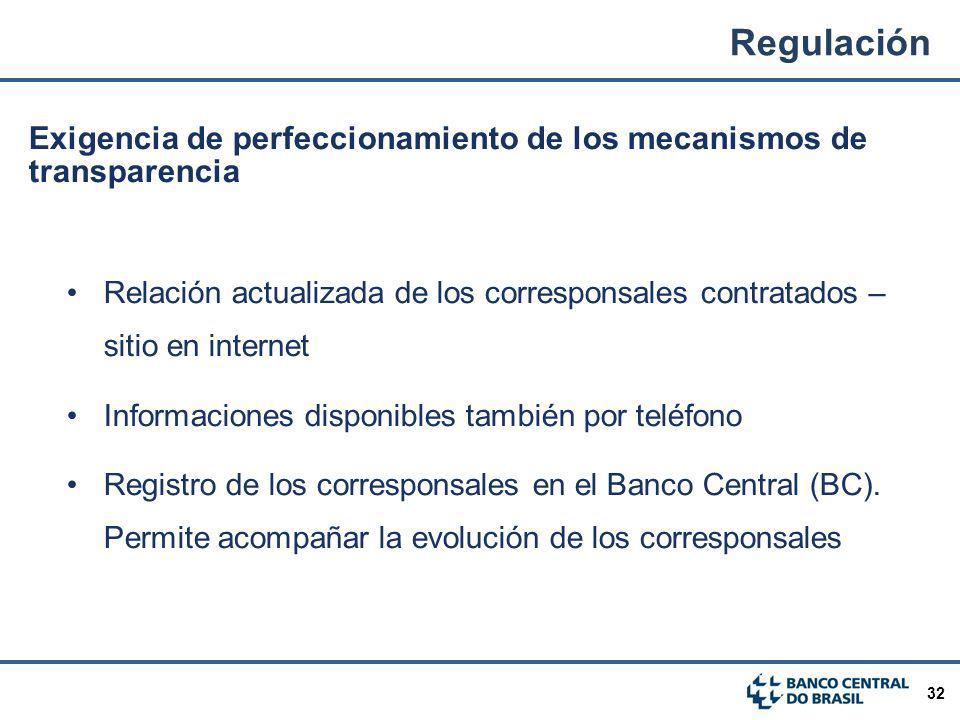 32 Exigencia de perfeccionamiento de los mecanismos de transparencia Relación actualizada de los corresponsales contratados – sitio en internet Inform