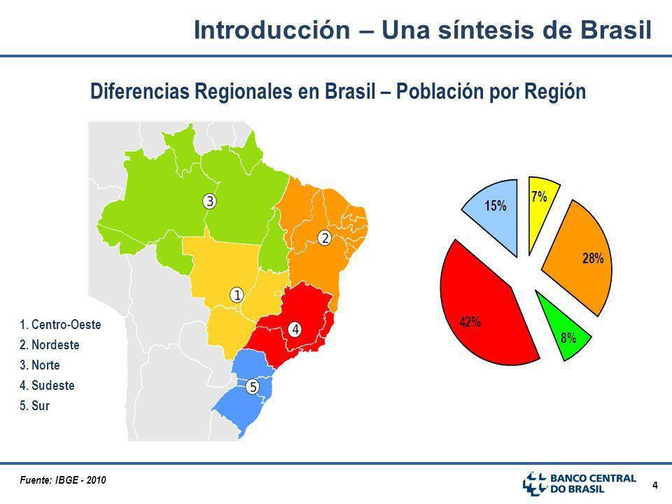 4 Diferencias Regionales en Brasil – Población por Región 1. Centro-Oeste 2. Nordeste 3. Norte 4. Sudeste 5. Sur Fuente: IBGE - 2010 Introducción – Un