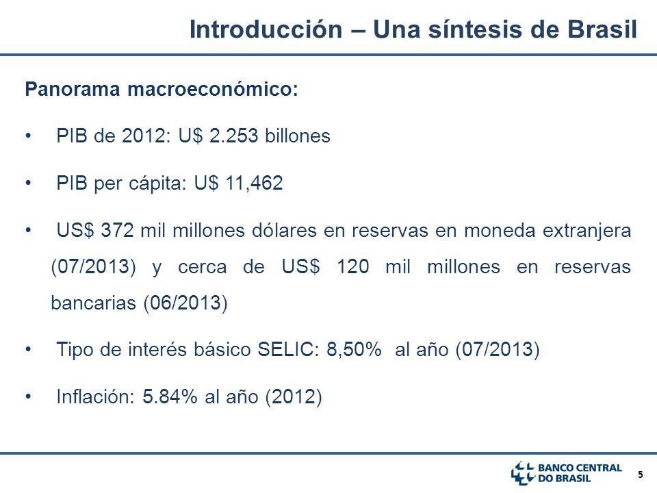 5 Panorama macroeconómico: PIB de 2012: U$ 2.253 billones PIB per cápita: U$ 11,462 US$ 372 mil millones dólares en reservas en moneda extranjera (07/