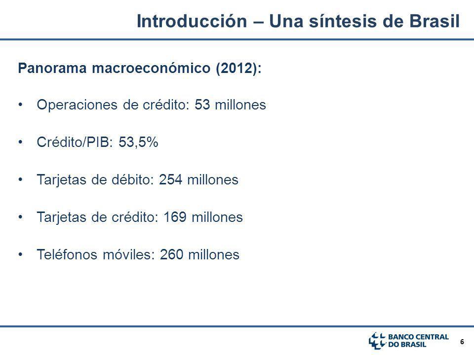 6 Panorama macroeconómico (2012): Operaciones de crédito: 53 millones Crédito/PIB: 53,5% Tarjetas de débito: 254 millones Tarjetas de crédito: 169 mil
