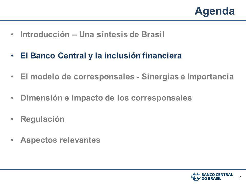 7 El Banco Central y la inclusión financiera El modelo de corresponsales - Sinergias e Importancia Dimensión e impacto de los corresponsales Regulació