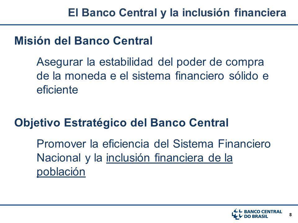 8 Misión del Banco Central Asegurar la estabilidad del poder de compra de la moneda e el sistema financiero sólido e eficiente Objetivo Estratégico de