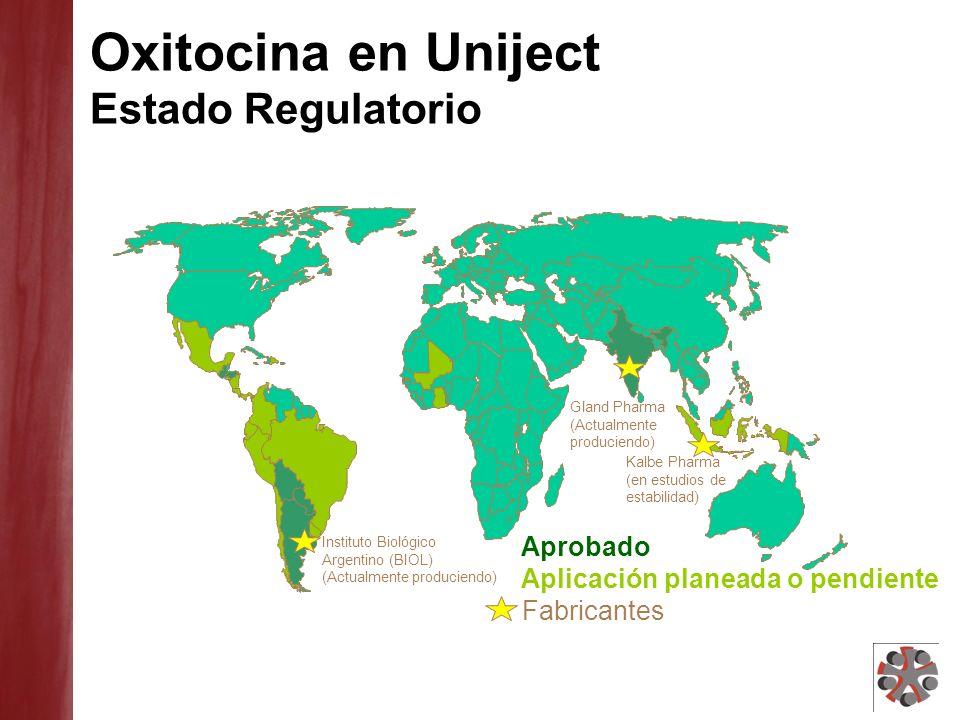 Oxitocina en Uniject Experiencias Presentes y Pasadas Argentina: - Piloto de introducción en 2009 - Preparación para precalificación de la OMS en proceso Argentina: - Piloto de introducción en 2009 - Preparación para precalificación de la OMS en proceso Ghana: - Muestreo de calidad completo - Estudio de seguridad y viabilidad en comunidades en proceso.