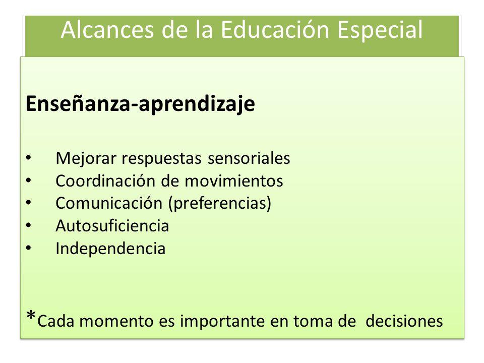 Alcances de la Educación Especial Enseñanza-aprendizaje Mejorar respuestas sensoriales Coordinación de movimientos Comunicación (preferencias) Autosuf