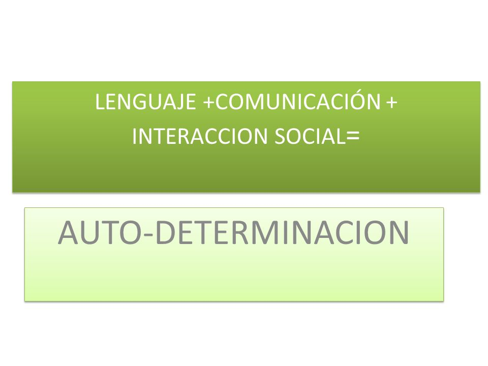 LENGUAJE +COMUNICACIÓN + INTERACCION SOCIAL = AUTO-DETERMINACION