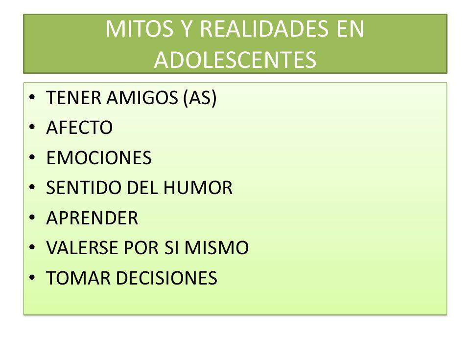 MITOS Y REALIDADES EN ADOLESCENTES TENER AMIGOS (AS) AFECTO EMOCIONES SENTIDO DEL HUMOR APRENDER VALERSE POR SI MISMO TOMAR DECISIONES TENER AMIGOS (AS) AFECTO EMOCIONES SENTIDO DEL HUMOR APRENDER VALERSE POR SI MISMO TOMAR DECISIONES
