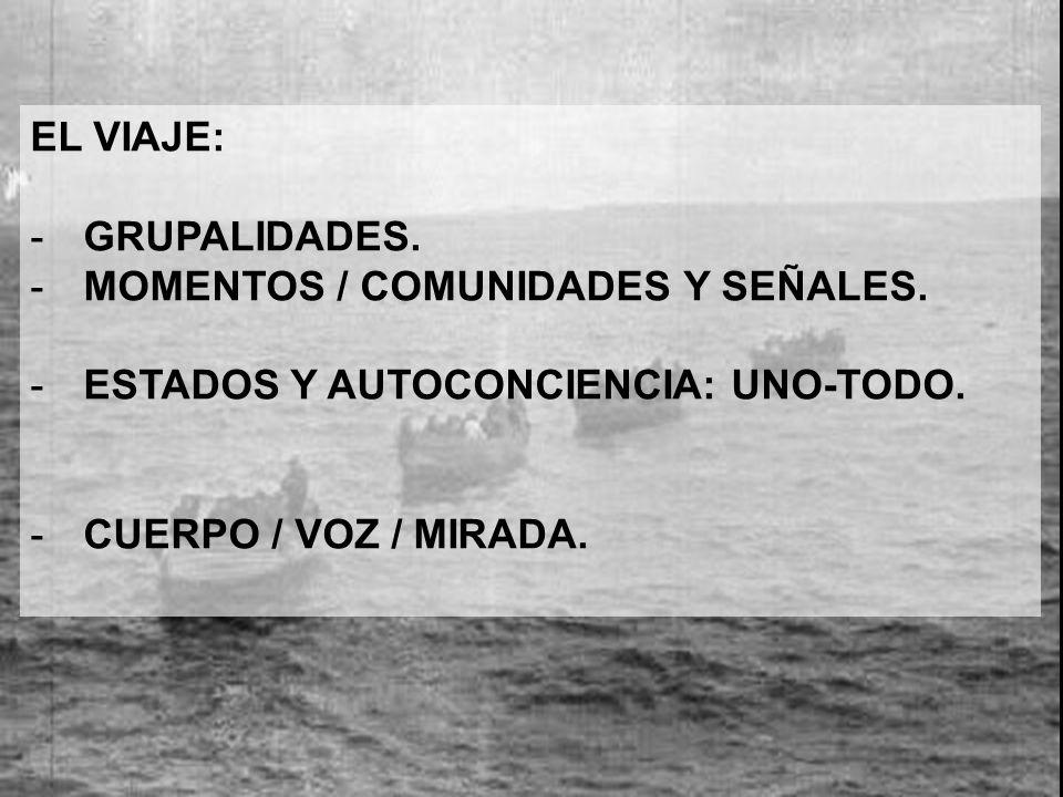 EL VIAJE: -GRUPALIDADES.-MOMENTOS / COMUNIDADES Y SEÑALES.