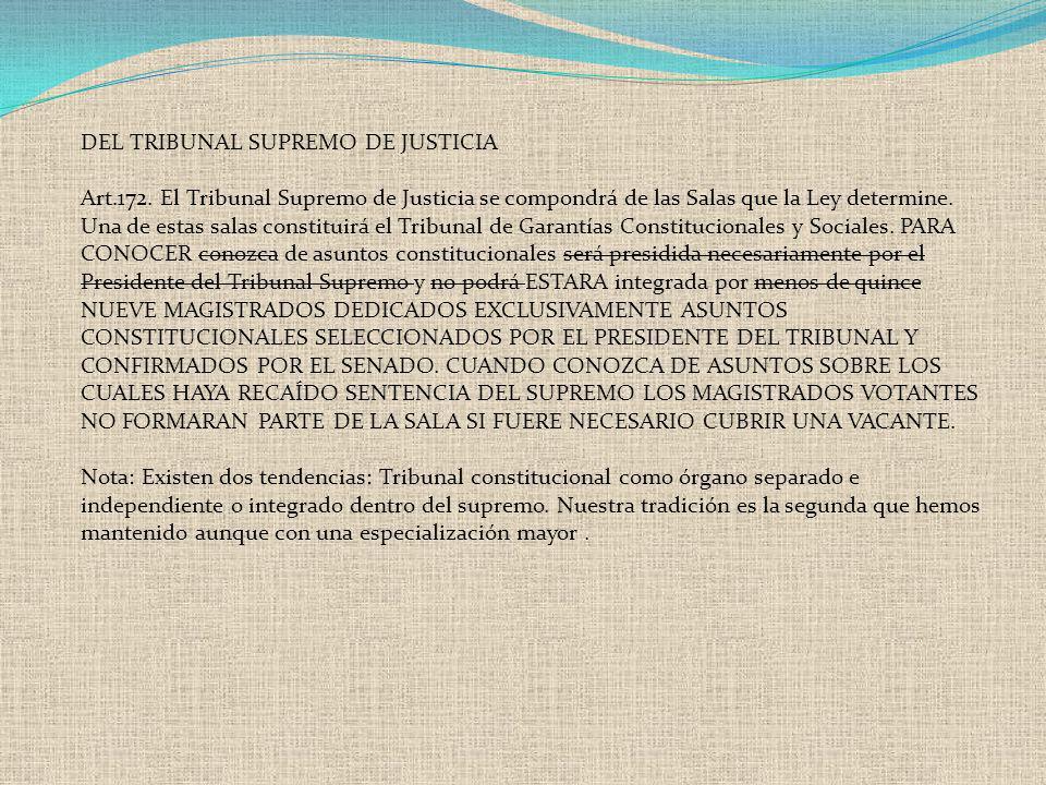 DEL TRIBUNAL SUPREMO DE JUSTICIA Art.172. El Tribunal Supremo de Justicia se compondrá de las Salas que la Ley determine. Una de estas salas constitui