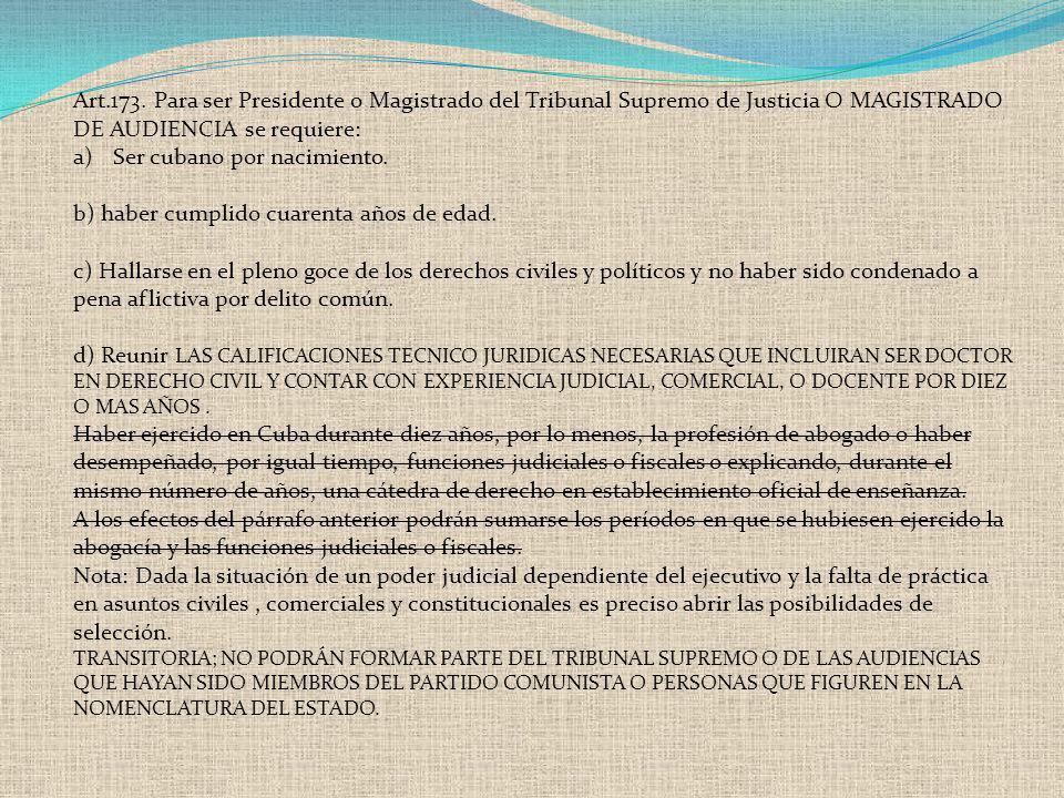 Art.173. Para ser Presidente o Magistrado del Tribunal Supremo de Justicia O MAGISTRADO DE AUDIENCIA se requiere: a)Ser cubano por nacimiento. b) habe