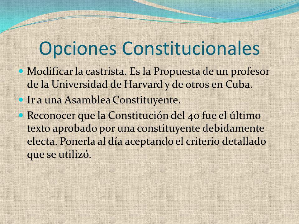 Opciones Constitucionales Modificar la castrista. Es la Propuesta de un profesor de la Universidad de Harvard y de otros en Cuba. Ir a una Asamblea Co