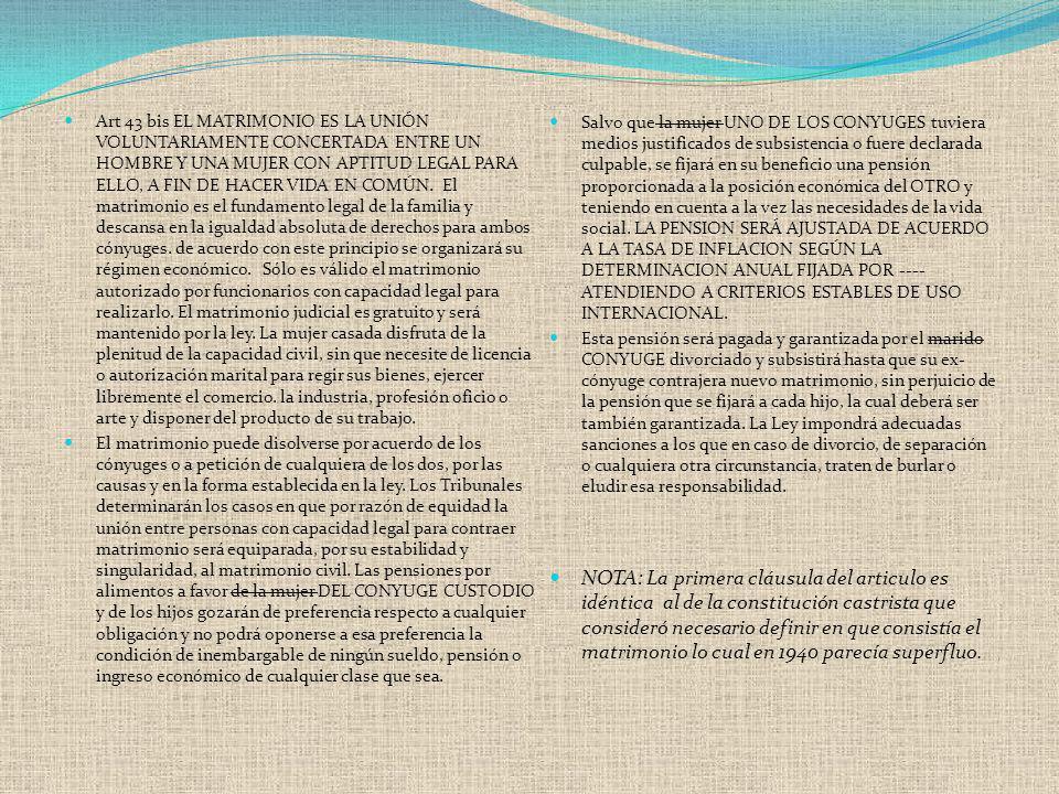 Art 43 bis EL MATRIMONIO ES LA UNIÓN VOLUNTARIAMENTE CONCERTADA ENTRE UN HOMBRE Y UNA MUJER CON APTITUD LEGAL PARA ELLO, A FIN DE HACER VIDA EN COMÚN.