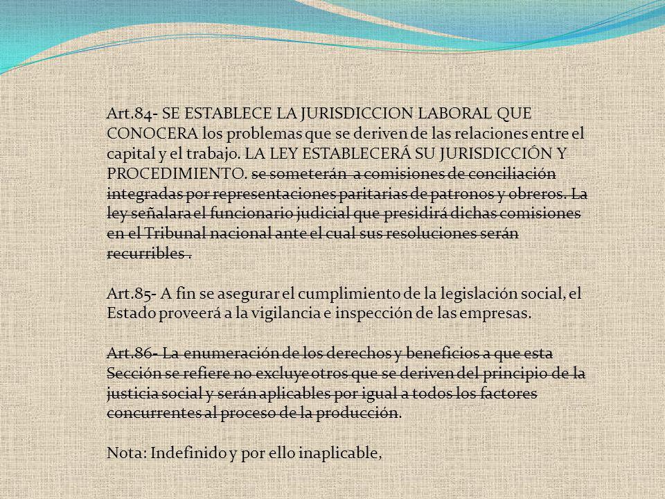 Art.84- SE ESTABLECE LA JURISDICCION LABORAL QUE CONOCERA los problemas que se deriven de las relaciones entre el capital y el trabajo. LA LEY ESTABLE