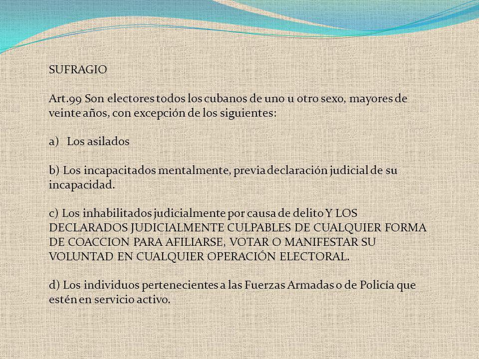 SUFRAGIO Art.99 Son electores todos los cubanos de uno u otro sexo, mayores de veinte años, con excepción de los siguientes: a)Los asilados b) Los inc