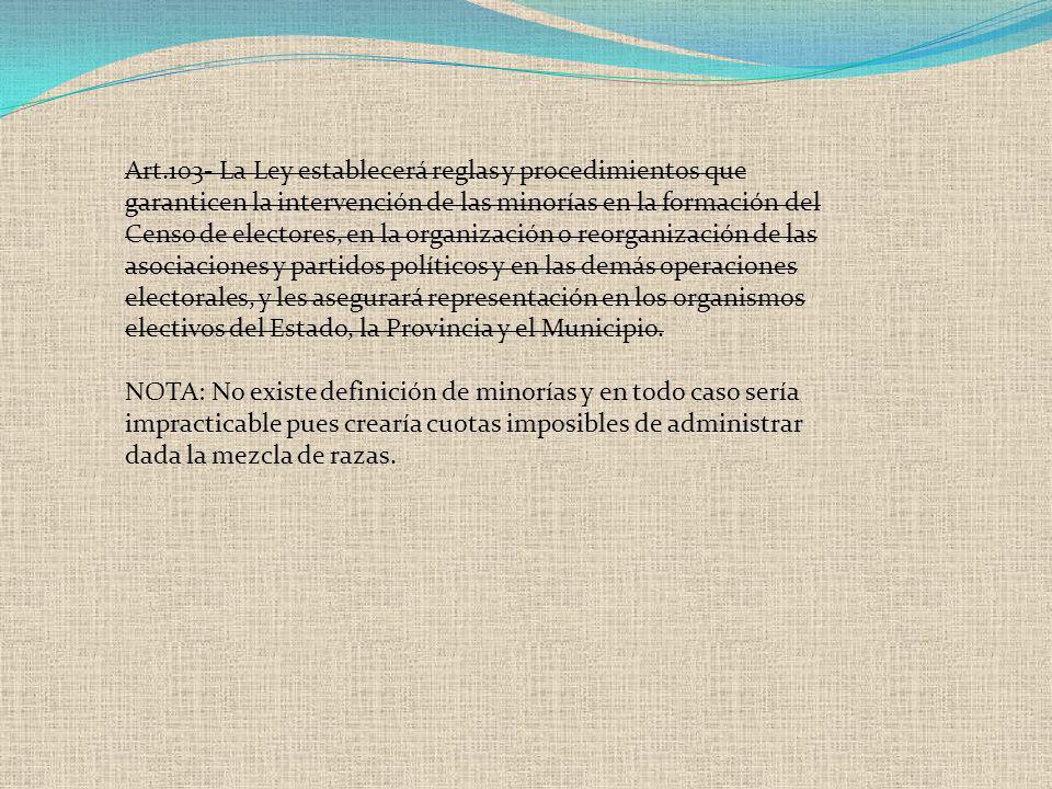 Art.103- La Ley establecerá reglas y procedimientos que garanticen la intervención de las minorías en la formación del Censo de electores, en la organ