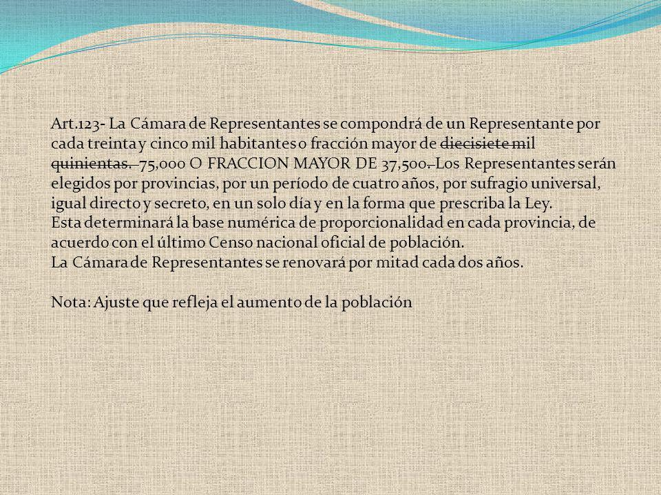 Art.123- La Cámara de Representantes se compondrá de un Representante por cada treinta y cinco mil habitantes o fracción mayor de diecisiete mil quini