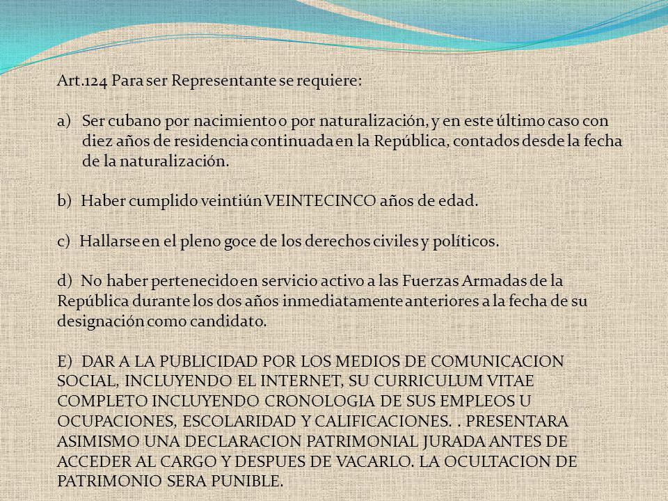 Art.124 Para ser Representante se requiere: a)Ser cubano por nacimiento o por naturalización, y en este último caso con diez años de residencia contin