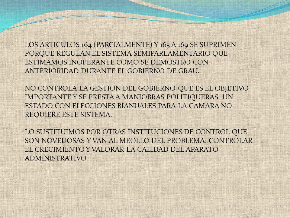 LOS ARTICULOS 164 (PARCIALMENTE) Y 165 A 169 SE SUPRIMEN PORQUE REGULAN EL SISTEMA SEMIPARLAMENTARIO QUE ESTIMAMOS INOPERANTE COMO SE DEMOSTRO CON ANT